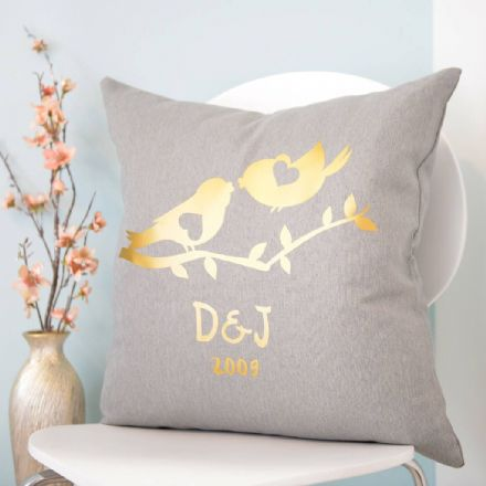 Personalised Metallic Gold Love Birds Cushion
